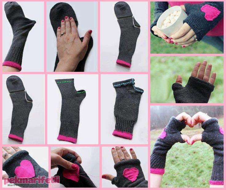 Eskiyen çoraptan eldiven yapımı | Geri Dönüşüm | Pek Marifetli!