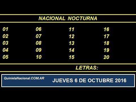 Quiniela - El Video oficial de la Quiniela Nocturna Nacional del día Jueves 6 de Octubre de 2016. Info: www.quinielanacional.com.ar