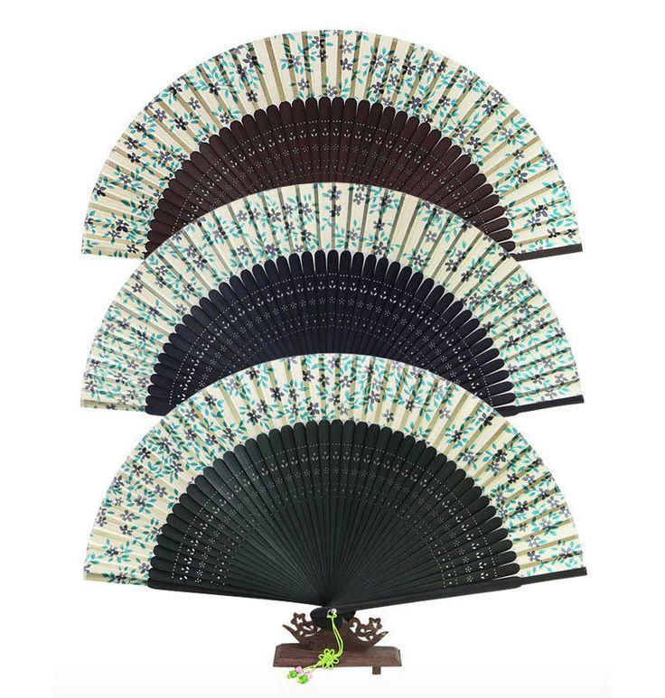 Korea Traditional Oriental Silk Antique Little Blue Floral Folding Hand Fan #Handmade #Casual