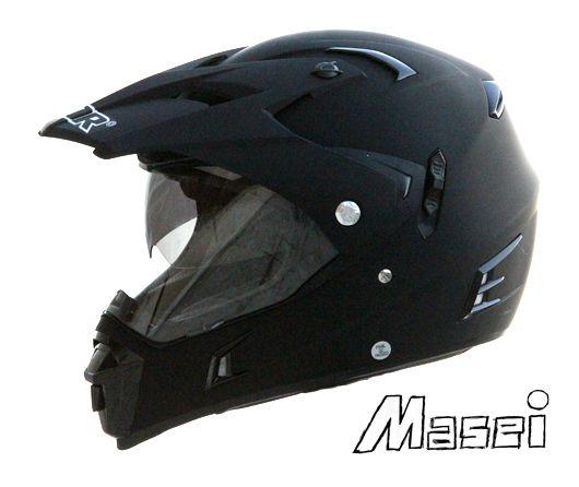MASEI & GDR MATT BLACK 311 ATV MOTOCROSS MOTORCYCLE ICON HELMET