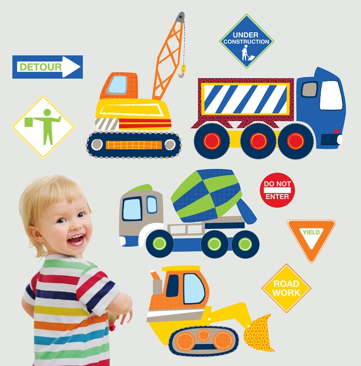 WallPops Construction Zone Wall Decals For The Kid Who Loves Trucks Diggers And