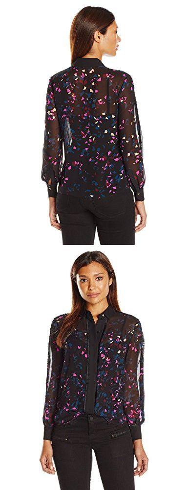 Ellen Tracy Women's Petite Pajama Shirt, Reflection/Multi, Petite Large