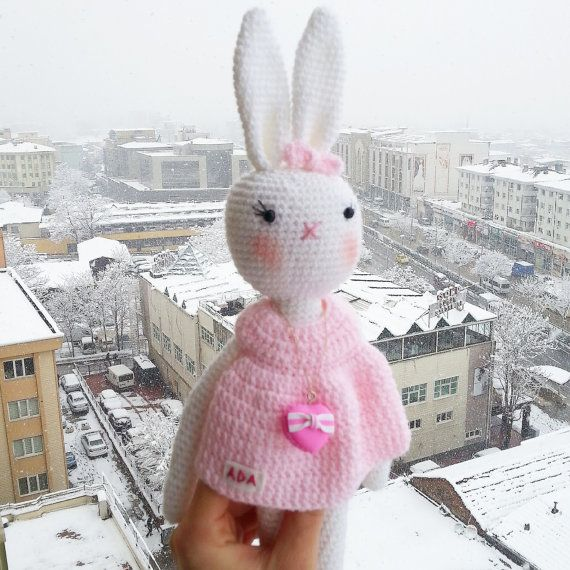 VALENTINES Day Gift Amigurumi Rabbit with PERSONALİZED by busem
