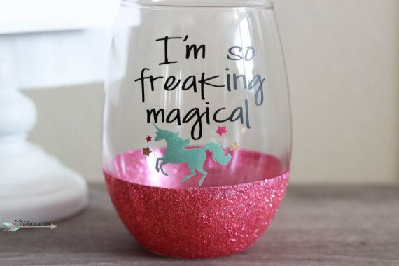 Im so freaking magical unicorn wine glass. Show how magical you are with this pink glitter 15oz stemless wine glass. Drink your wine in this glitz and glam glitter wine glass. This glass is perfect for your best friends birthday gift, graduations, promotions or any other reason to celebrate. The saying is permanent, high quality, outdoor grade vinyl and the glitter is sealed. There is also the option to add a name or monogram on the back side of the glass for $2 more.  *PLEASE ADD…