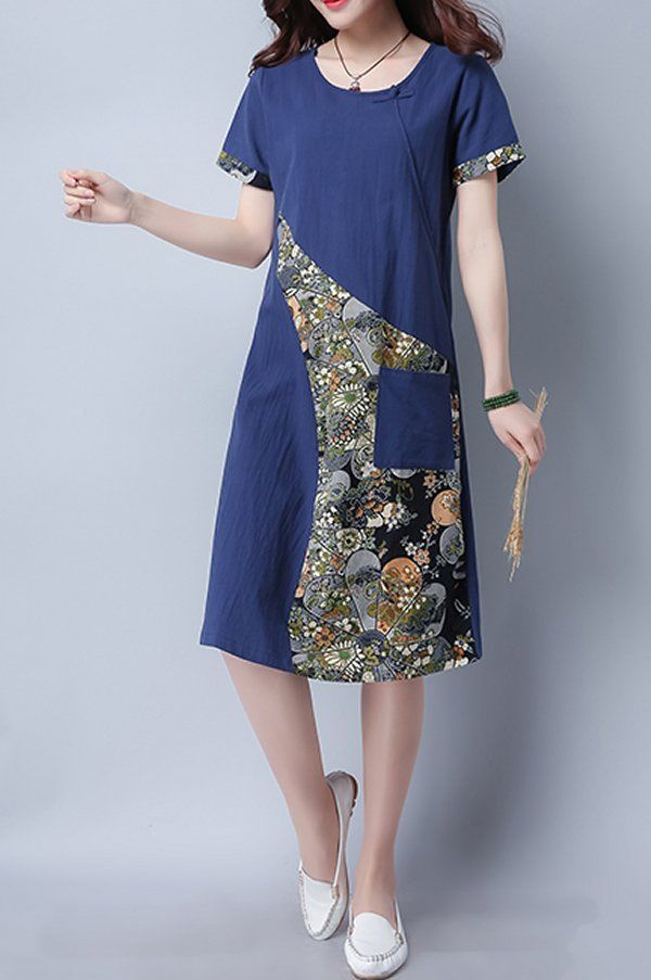 Women dress loose fit pocket patchwork flower tunic short sleeve large size chic