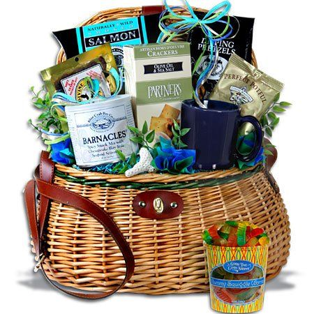 Fishing Gift Basket - Caught The BIG One™ - http://www.yourgourmetgifts.com/fishing-gift-basket-caught-the-big-one/