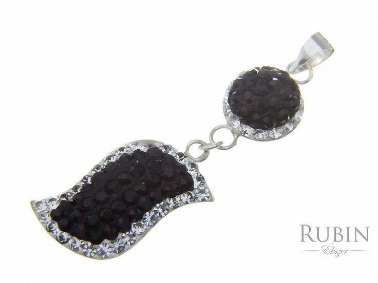 Swarovski kristályos  fekete és fehér csepp ezüst medál