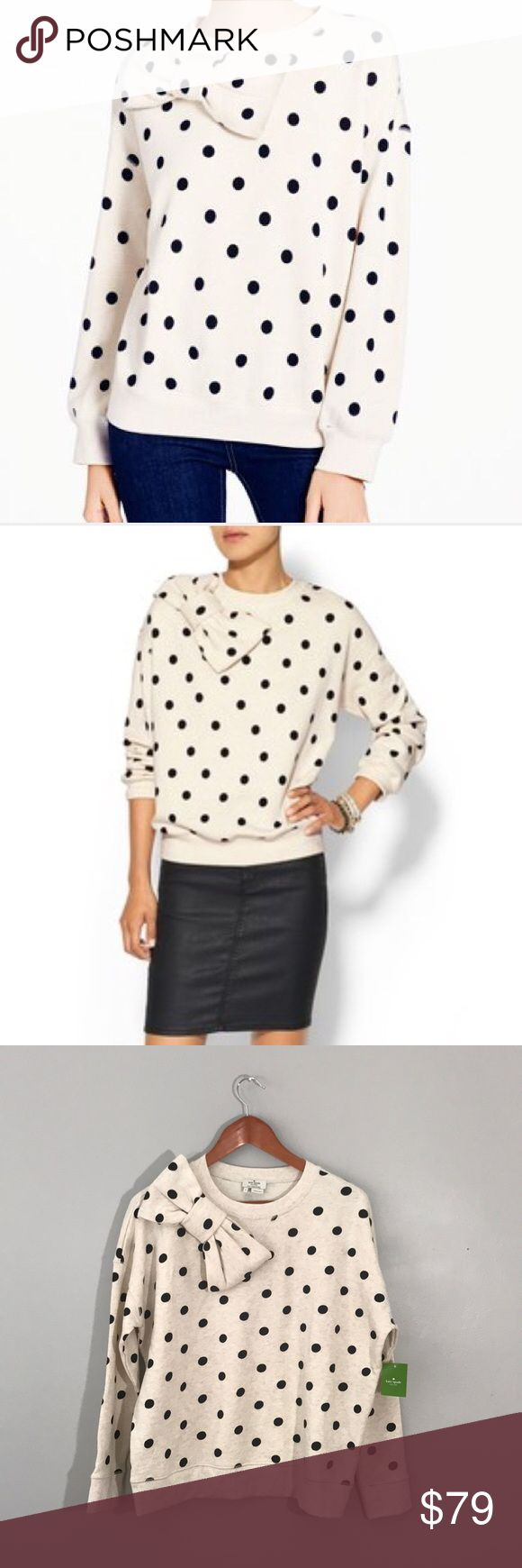 """NWT Kate Spade Deco Dot Bow Sweatshirt NWT Kate Spade Deco Dot Bow Sweatshirt in heathered oatmeal and black polka dot pattern featuring an oversized bow at the shoulder.  Size small, this slouchy top measures approximately 25"""" from armpit to armpit laid flat and is 25"""" in length. kate spade Tops Sweatshirts & Hoodies"""