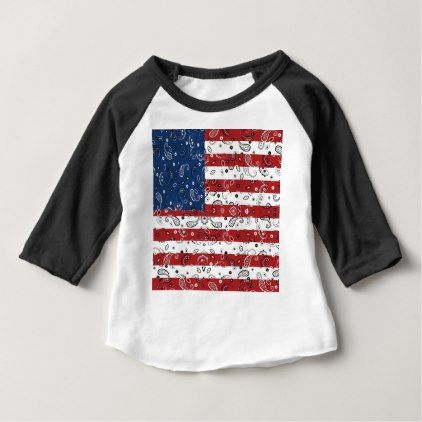 Bandana Pattern American Flag Baby T-Shirt - patterns pattern special unique design gift idea diy