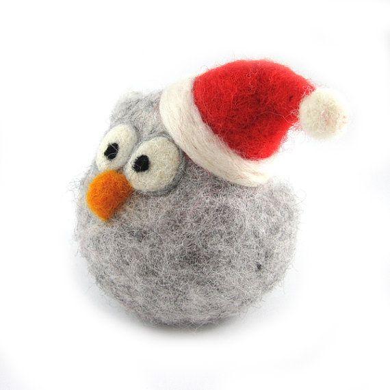 Needle Felted Santa Owl by RolyzTreasures, $35.00