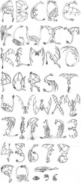 ۞ Dragons. This is another alphabet I cannot find all of the individual letters for so here is an over all view. ۞