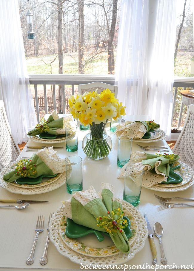 St. Patrick's Day Spring Table Setting Tablescape from Between Naps on the Porch blog - Pinned 2-26-2016.