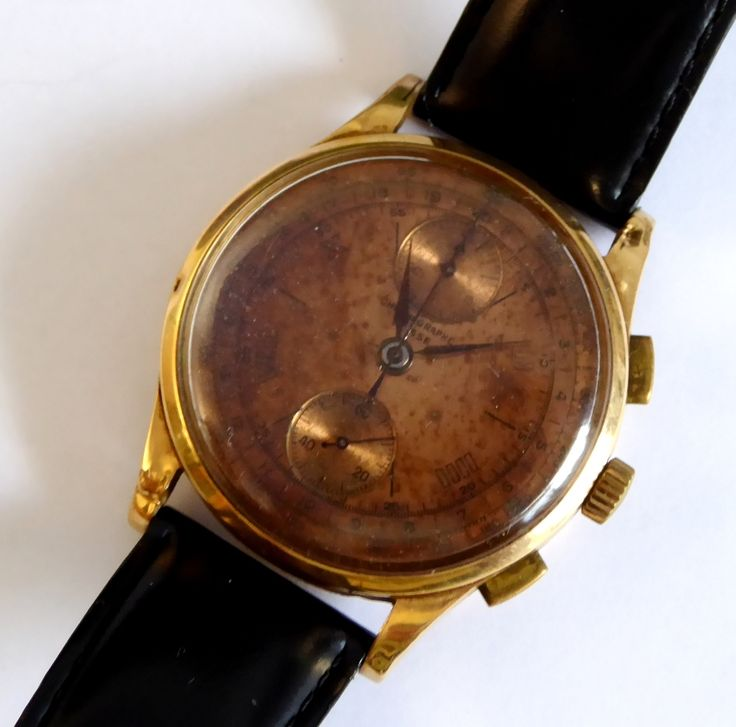 1930s Swiss Gents 18ct Gold Chronograph Wrist Watch - The Collectors Bag