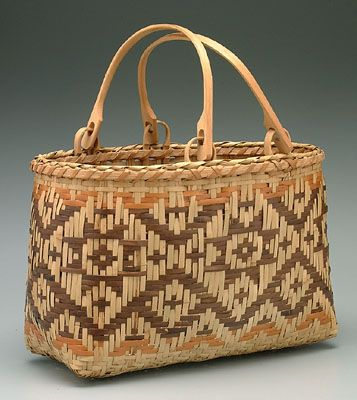 """Eastern Cherokee river cane swing handled """"shopper"""" or purse basket. The handles are made of white oak."""