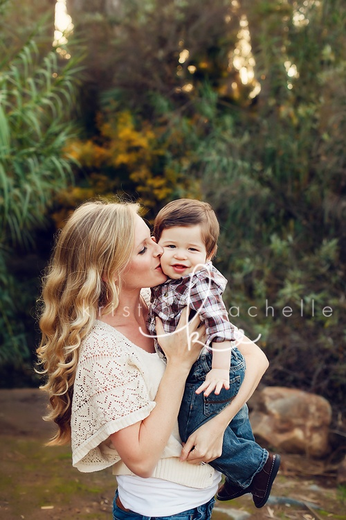 Mommy In White Cream Baby In Blue Jeans Plaid Shirt Red