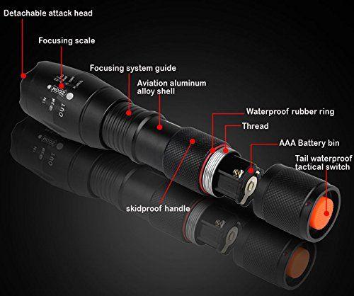 Especificación1. Material: Aleación de aluminio 2. Fuente de luz: LED T63. 5 Switch Mode: alto / medio / bajo / flash / SOS 4. La irradiación distancia: 300 – 500 m5.Suministro de alimentación: Una batería 18650 (incluidas) o tres baterías AAA (no... http://comprarlinternaled.com/deportivas/caza/best-007-linterna-led-1000lm-de-mano-resistente-al-agua-con-bateria-recargable-y-6-accesrios-diferentes-ultra-con-5-modos-perfecta-para