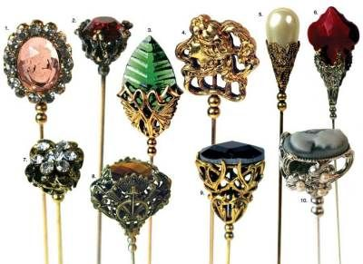 My wife has this page open in the Victoria Trading Company catalog.  She has an antique hatpin holder on her dresser.  beautiful hatpins set