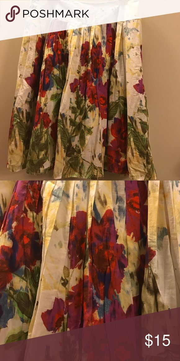 Mark & Spencer Foral spring skirt UK 14 Like new size 14.  Cotton with side zipper perfect for the spring .Bundle and save. marks & Spencer Skirts A-Line or Full