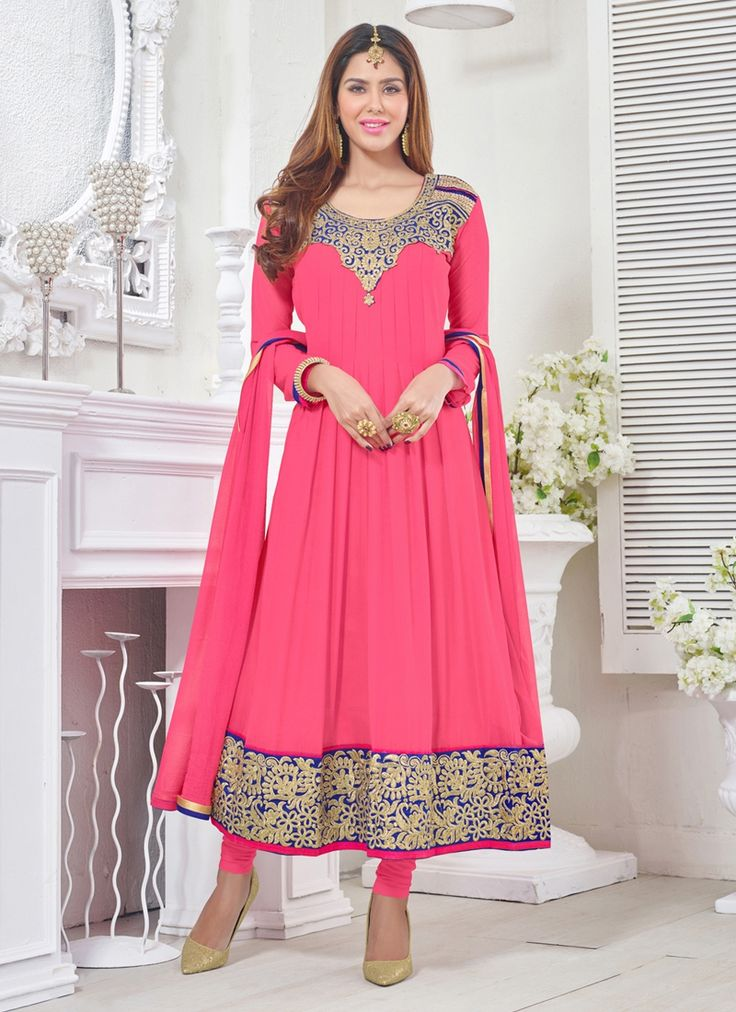 Add grace and charm on your appearance in this hot pink georgette churidar designer suit. The desirable embroidered and resham work a intensive feature of this attire.  #bridallehenga #bridalwear #indianbride #southasianbride #southasianwedding #bengaliwedding #pakistanistreetstyle #salwarsuits #partywear #fashionandstylish #shoponline #ethnicwear #originals #desicouture #festive #collection #musthave #indianwardrobe #indianfashion #PayPal #india #Canada #Australia #southAfrica #USA #London