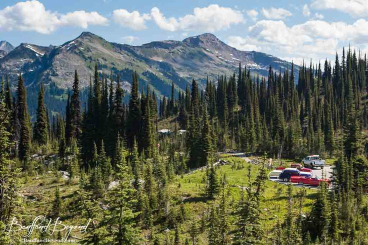 parking lot at the top of the meadows in the sky parkway in revelstoke