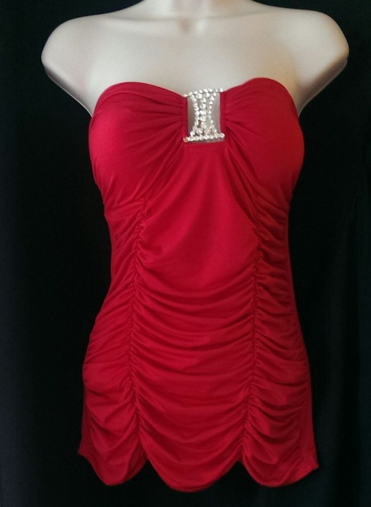 Body Central Medium Red Beaded Tube Top Strapless Shirt Top Sexy Summer Beach #BodyCentral #Sexy