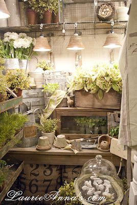 pot lights, numbered grain sacks, greenery, wire and galvanized lovliness...these are a few of my favorite things.