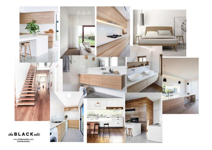 white and timber e-design package moodboard. interior design, australian interiors, fresh and light, warm and inviting, timber cabinets, laminex, polytec, floating timber stairs