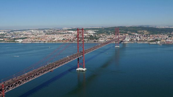 Top View on the 25 de Abril Bridge in Lisbon 848 by Discovod Top View on the 25 de Abril Bridge in Lisbon, Portugal.