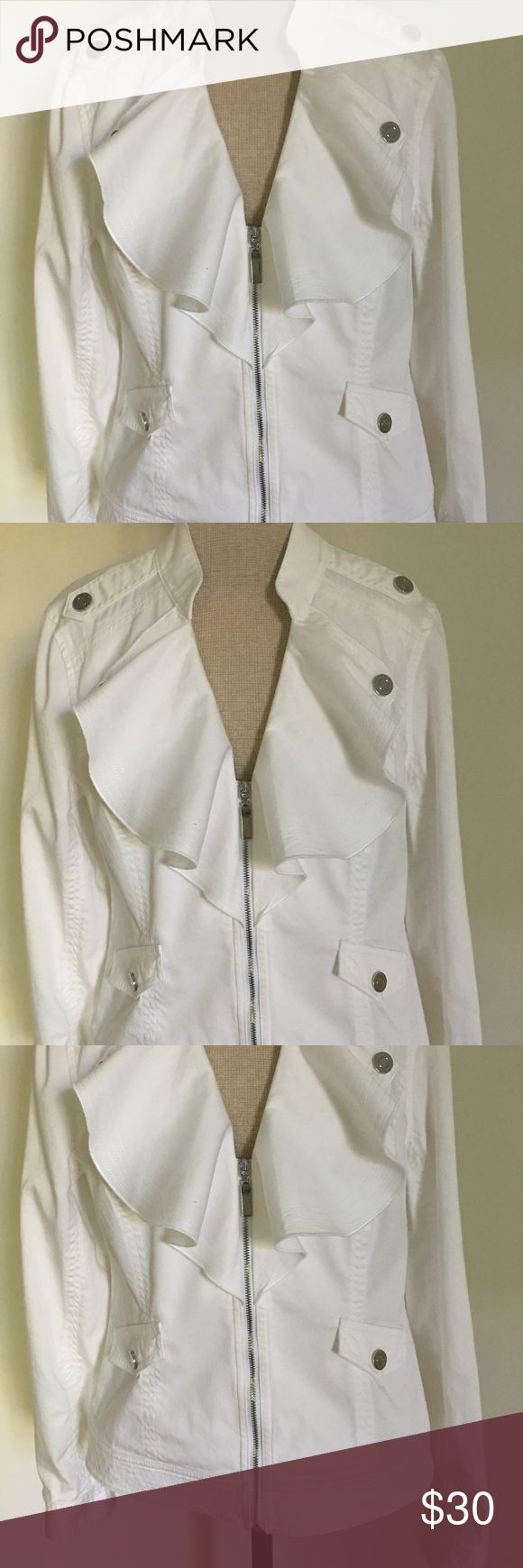 WHBM white denim jacket ruffle color. White House Black Market white denim jacket, front zip closure, ruffle collar with metal button snaps. 4 rows of stitching on collar, cuffs and band at bottom. Size 4 excellent condition. White House Black Market Jackets & Coats Jean Jackets