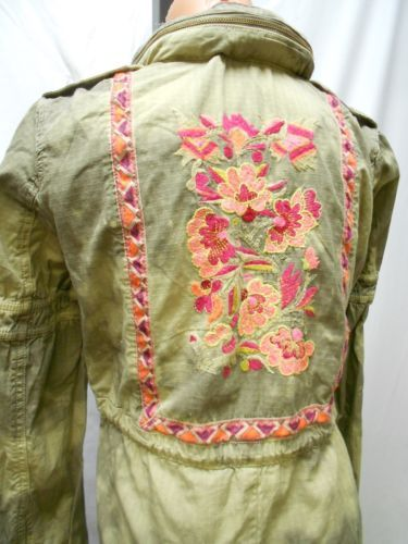 "NEW Free People ""Festival Anorak"" Army Combo Green Floral Embroidered Jacket 4"