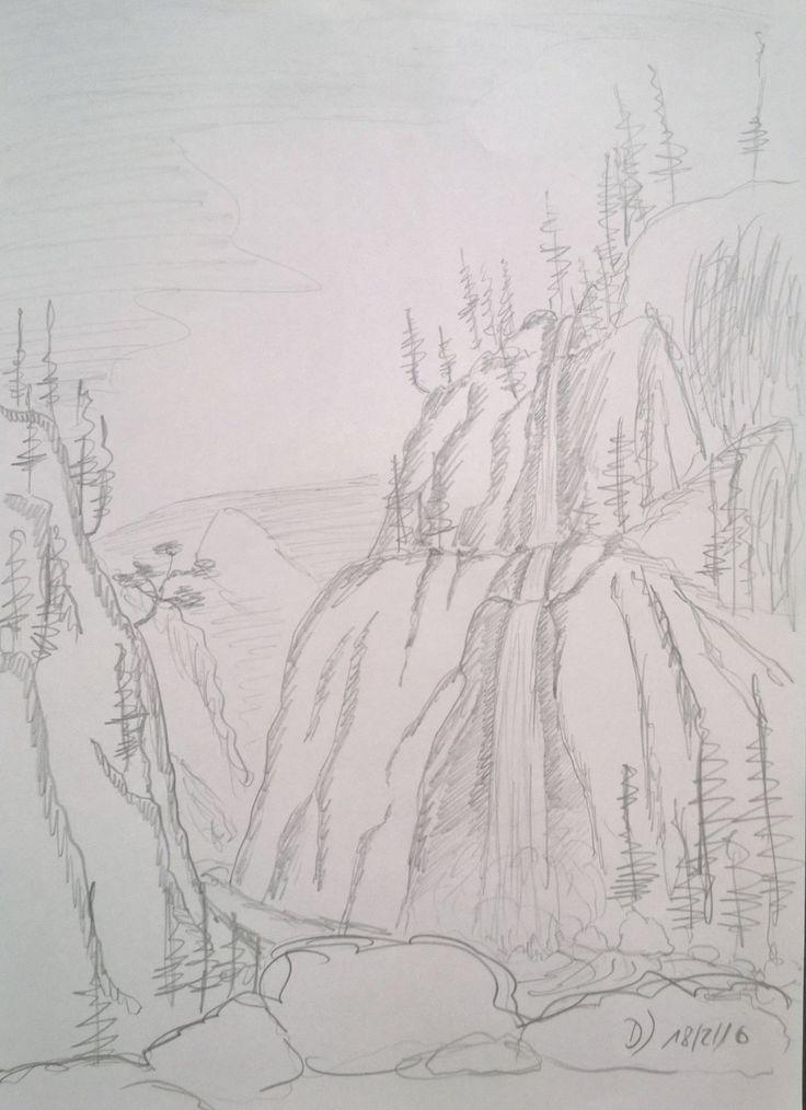 Bleistiftskizze eines Wasserfalles im Hochgebirge - Bisher noch nicht umgesetzt