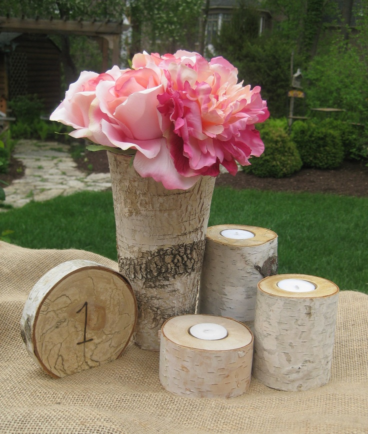 Birch Bark Candles Or Table Number