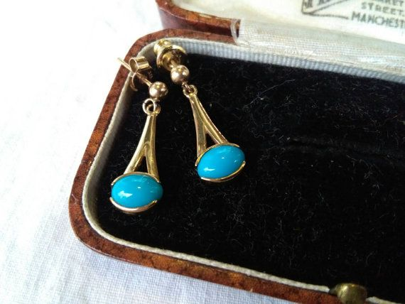 Check out this item in my Etsy shop https://www.etsy.com/ie/listing/257636134/vintage-9ct-gold-turquoise-earrings