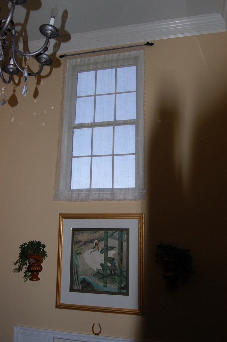 Two Story Foyer Window Treatment : Vintage sheer on two story foyer window my