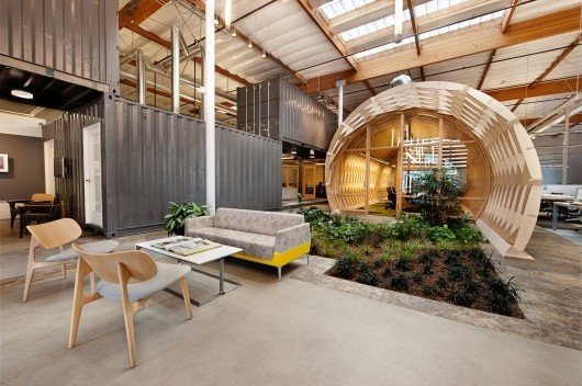 Open space office lounge area with outdoorsy feel