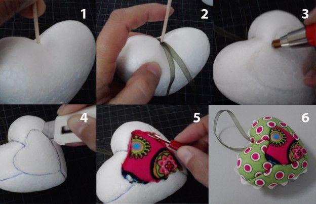 Como fazer um coração em #patchwork embutido passo-a-passo. #Artesanato em acção :)