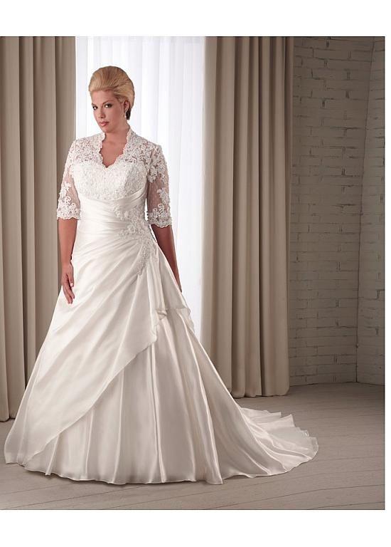 Magbridal Stunning Taffeta & Satin Queen Anne Neckline Natural Waistline A-line Plus Size Wedding Dress
