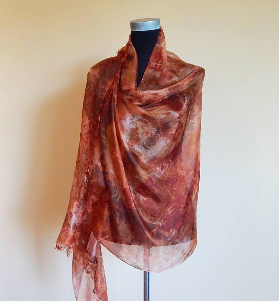 Hand Painted Silk Scarf Brown Silk Summer Scarf Shibori Silk
