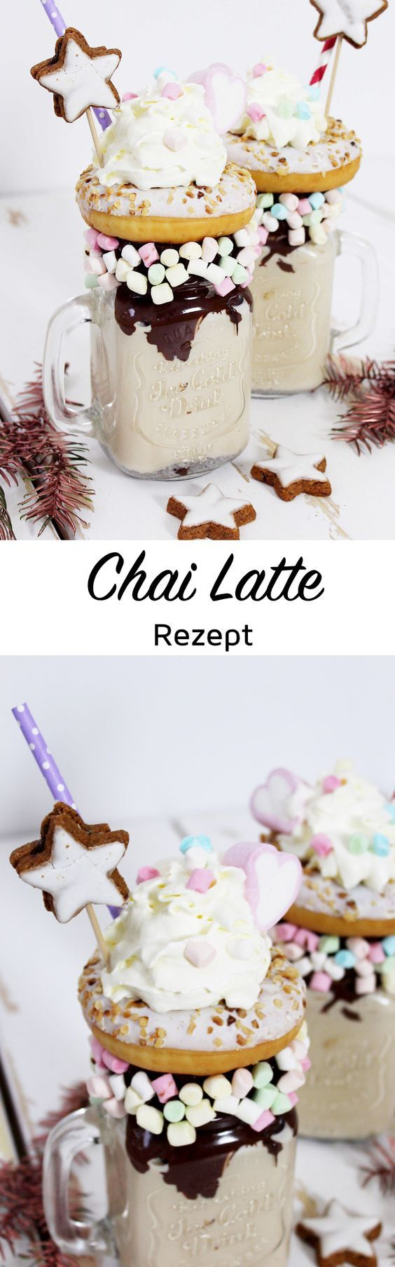Chai Latte Rezept für weihnachtliche Freakshakes  Perfekt, um den trüben November mit winterlichen Chai Latte Freakshakes zu versüßen! Meistens werden Freakshakes ja mit kalten Getränken gemixt, also zB. Eis und Milch. Da mir das aber endgültig zu kalt ist, zeige ich euch heute eine warme Freakshake-Variante, die auf einem Rezept für Chai Tee basiert. Die Shakes schmecken soooo lecker, versprochen! <3