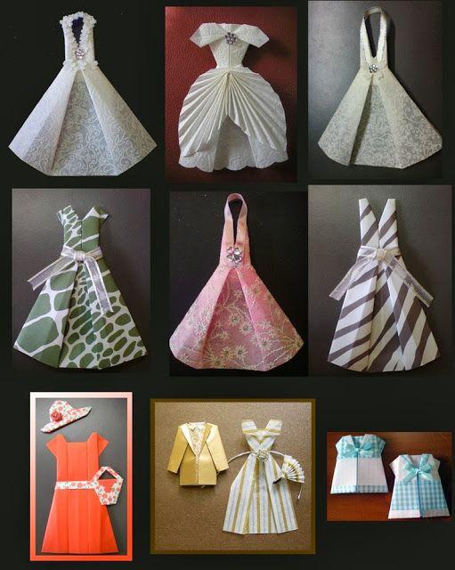Cute origami dresses by Heidi Hoshi.