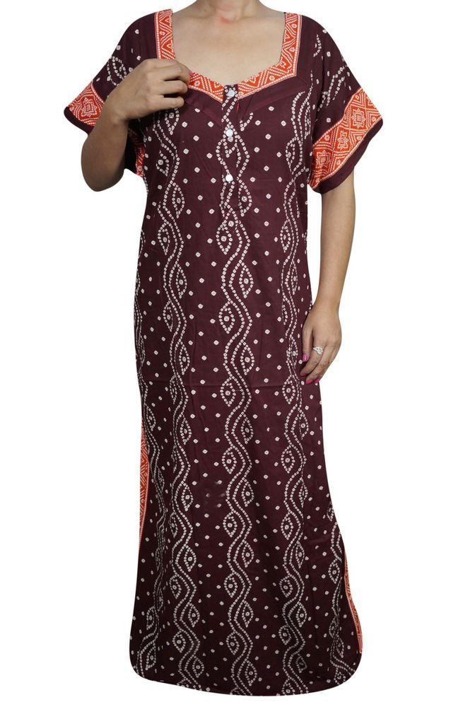 Indiatrendzs Women Nighty Cotton Printed Sleepwear Long Nighty 50  (Maroon) | eBay