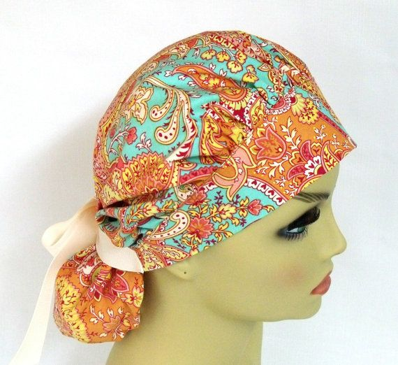 Womens Bouffant Surgical Scrub Hat or Cap Paisley by ScrubsbyEdie