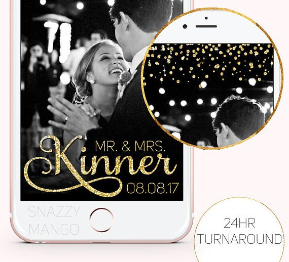 Wedding Snapchat Geofilter Gold Glitter Wedding Geofilter