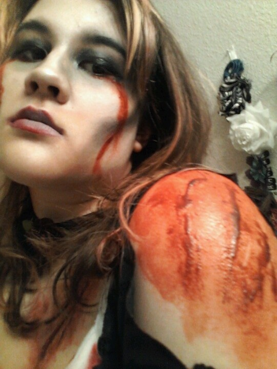 scabby wound smear fake blood on desired area then take scabbing fake blood and - Halloween Fake Wounds