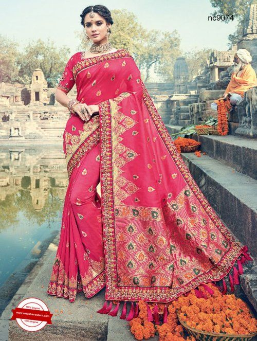 Pink Silk Wedding Saree   Shop for sarees online at www.natashacouture.com   ❤️ Call / WhatsApp / Viber : +91-9052526627   Free Shipping in India   COD*   Worldwide Shipping   Authentic Quality Guaranteed ❤️
