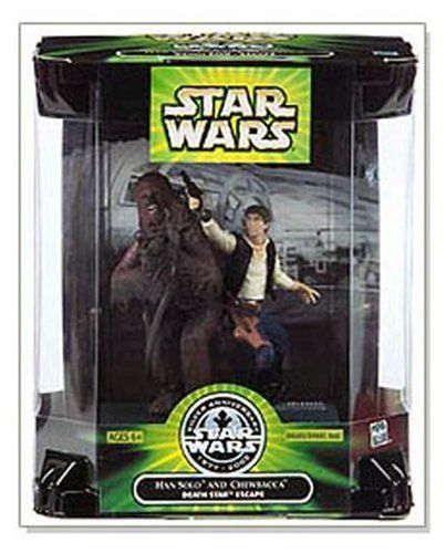 HAN SOLO & CHEWBACCA * DEATH STAR ESCAPE * Star Wars Silver Anniversary 1977-2002 Figure Set by Hasbro. $16.48. Figure measured approximately 4 inch tall. Includes : Han Solo and Chewbacca Figure Plus Display Base. For age 6 and up. Star Wars Silver Anniversary 1977 - 2002 Movie Scene 4 Inch Tall Action Figures - Death Star Escape with Han Solo and Chewbacca Plus Display Base