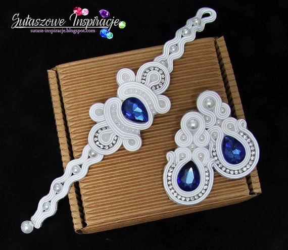 Soutache earrings and soutache bracelet Pearl ivory white and blue wedding jewelry bridal set custom order jewelry