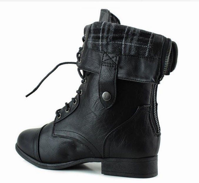 Top Moda Women's Fold Down Military Lace Up Combat Boots Shoes - Store Online for Your Live and Style