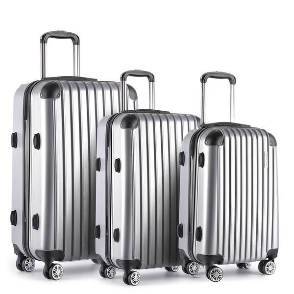 Set of 3 Hard Shell Travel Luggage with TSA Lock - Silver – Click Online Sales