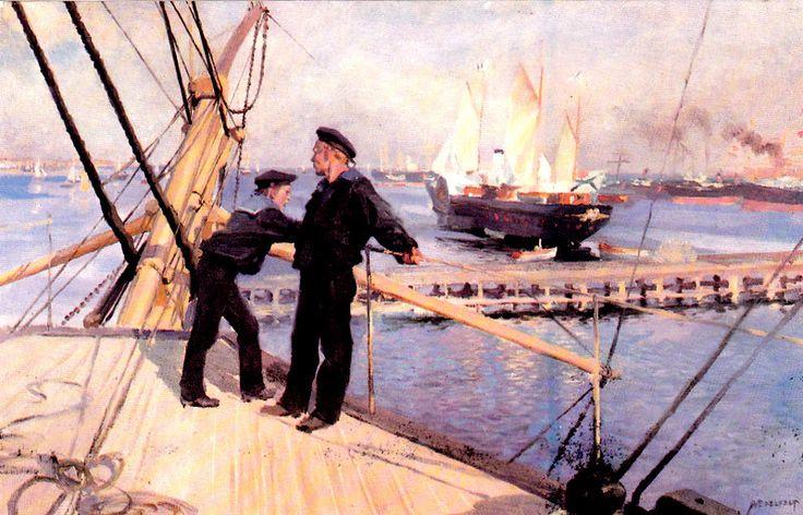 Kuva albumissa ALBERT EDELFELT - Google Kuvat.  Kööpenhaminan ankkuripaikalta III, 1890.  Petit Oy, iso kortti.
